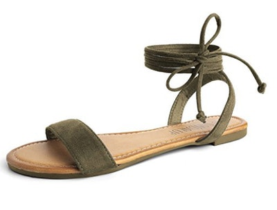 Sandalup Tie up Ankle Strap Flat Sandals