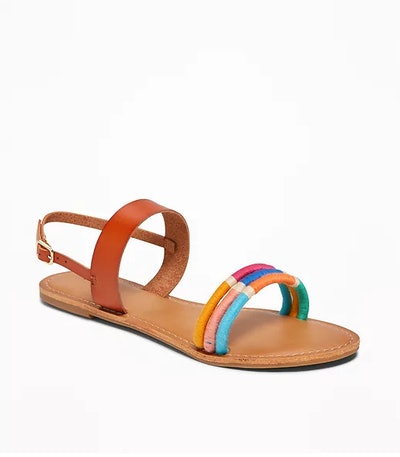 Wrapped-Thread Slingback Sandals