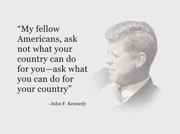 This patriotic meme for 4th of July features an important quote from JFK.