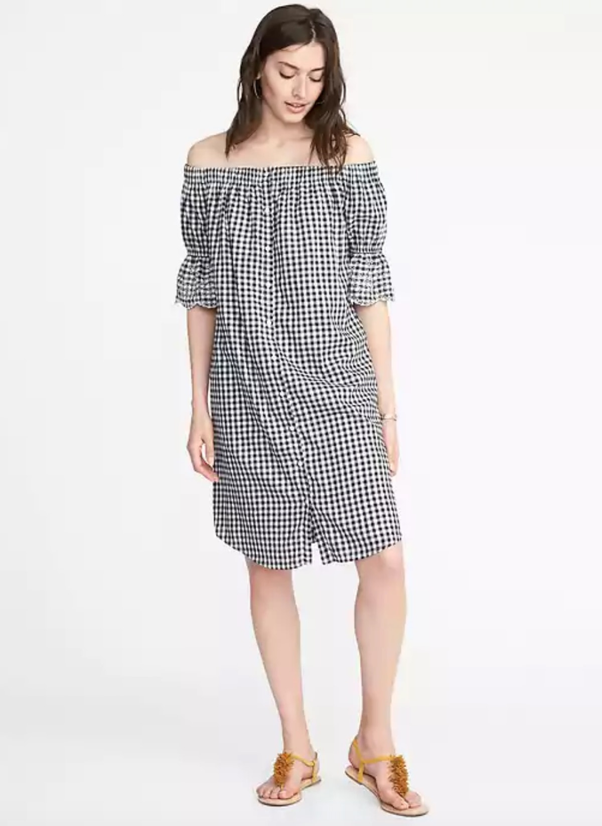 Off-the-Shoulder Button-Front Gingham Dress for Women