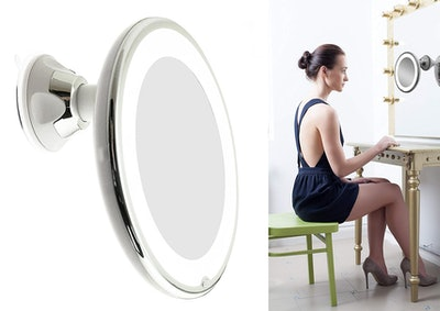JiBen LED Magnifying Makeup Mirror With Power Locking Suction Cup