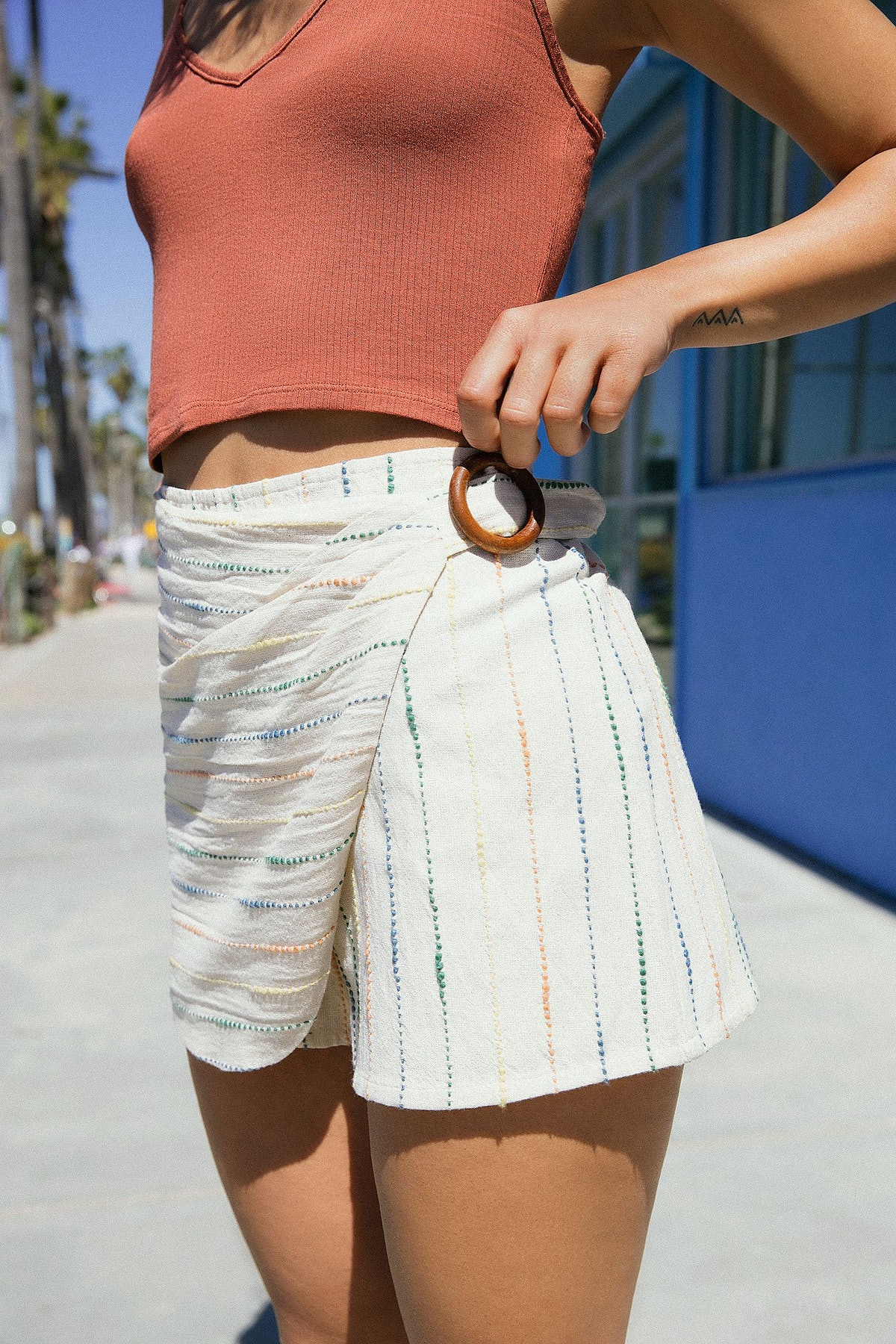 Striped Wrap Skort Short