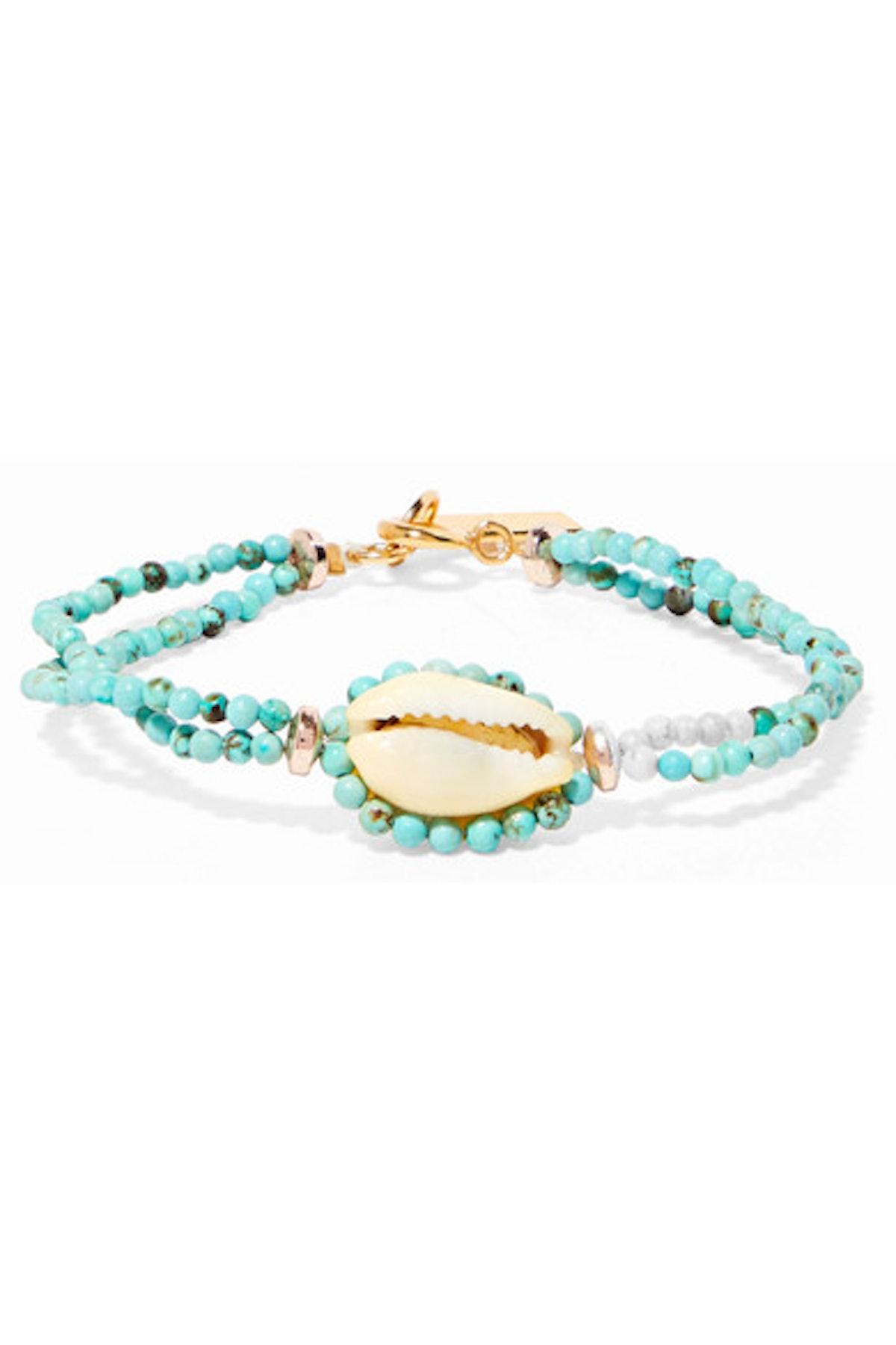 Isabel Marant Gold-tone, bead and shell bracelet