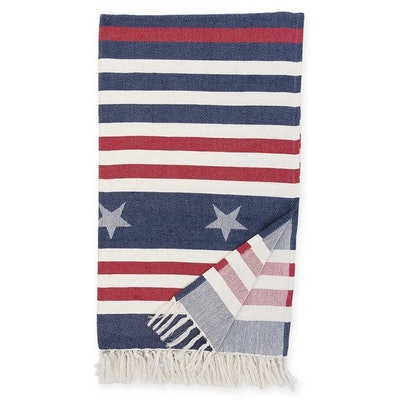 Stars and Stripes Throw Blanket in Blue and Red