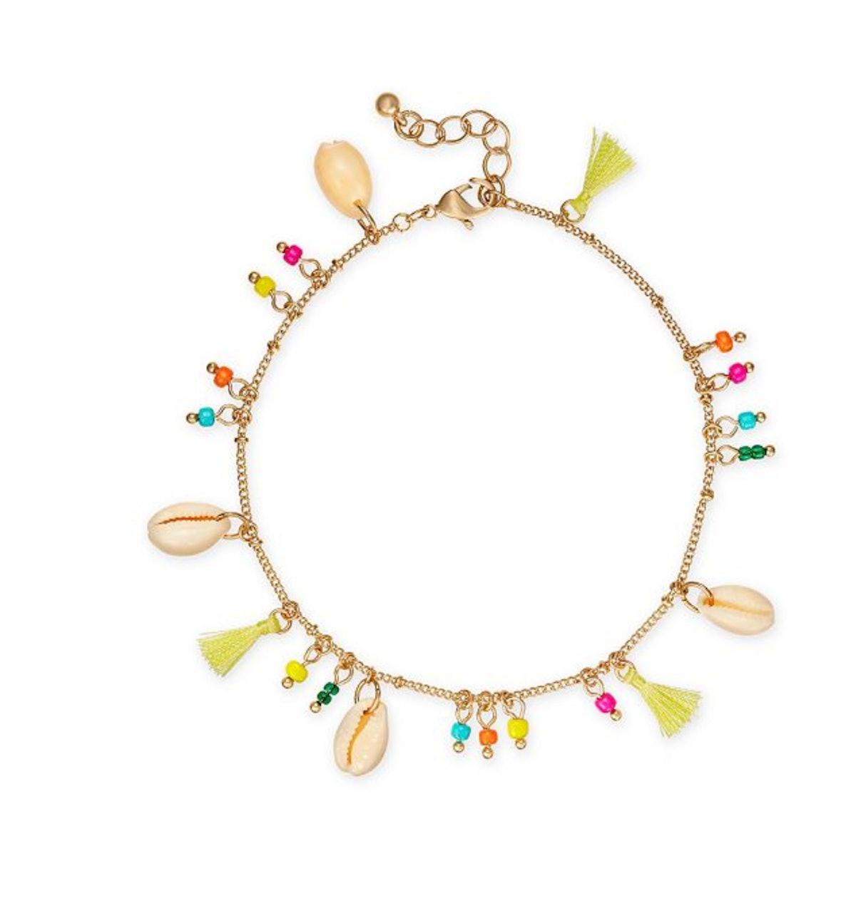I.N.C. Gold-Tone Bead, Shell & Tassel Ankle Bracelet, Created for Macy's