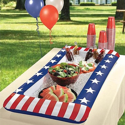 Sol Summer Shade Red, White, And Blue Inflatable Bar Cooler