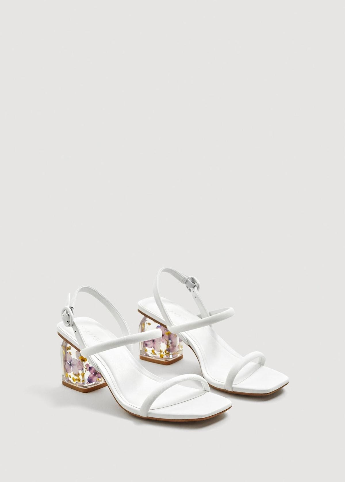 Flowered heel leather sandals
