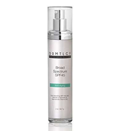 DRMTLGY Daily Anti Aging Facial Moisturizer with Clear Broad Spectrum Sunscreen SPF 45