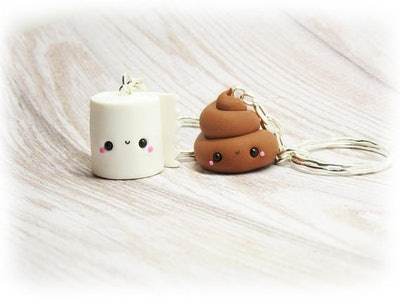 Poop and Toilet Paper Friendship Keychain