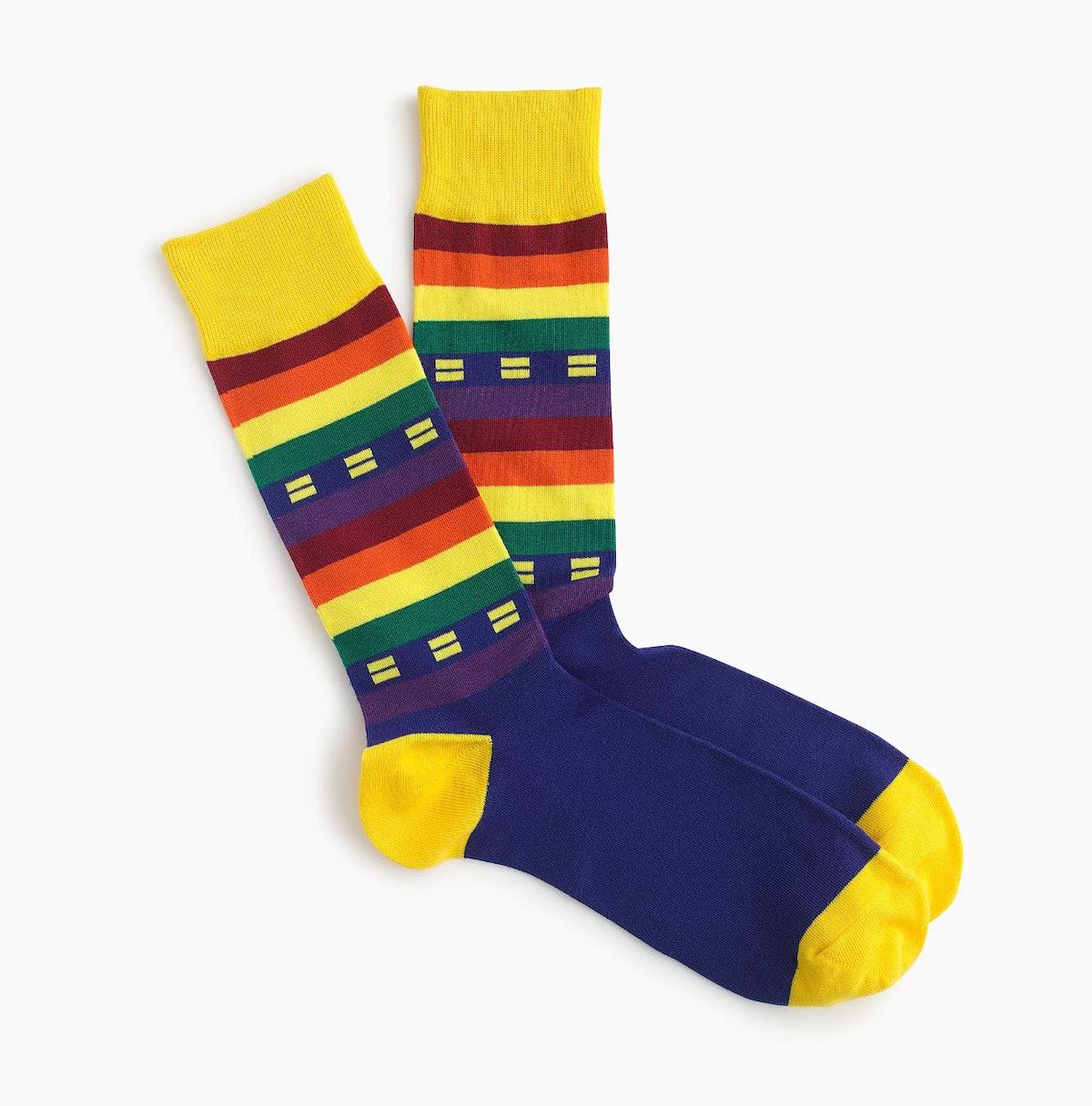 J.Crew X Human Rights Campaign Pride flag socks