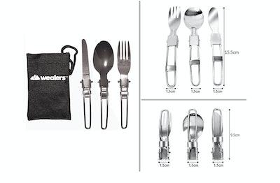 Wealers Stainless Steel 3-Piece Folding Cutlery Set