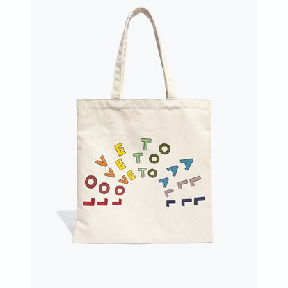 Madewell x human rights campaign love to all pride reusable canvas tote bag