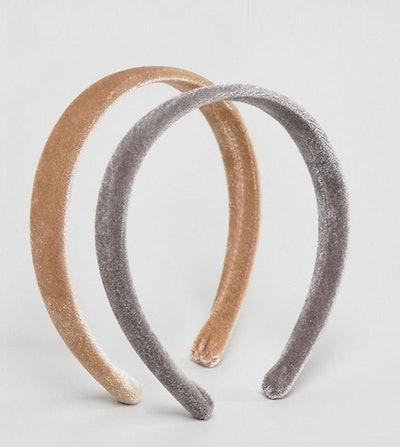 ASOS Design Pack of 2 Velvet Headbands