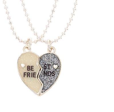 Best Friends Glitter Heart Pendant Necklaces - 2 Pack