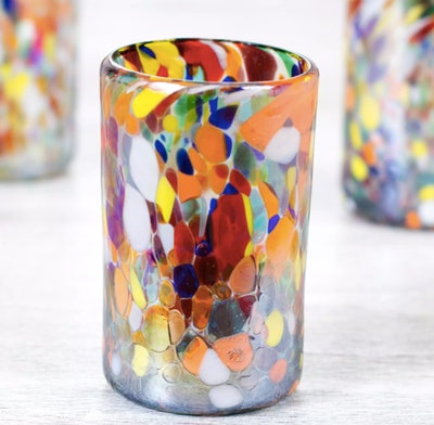 Handcrafted Blown Glassware Set from Mexico, 'Celebration of Color'