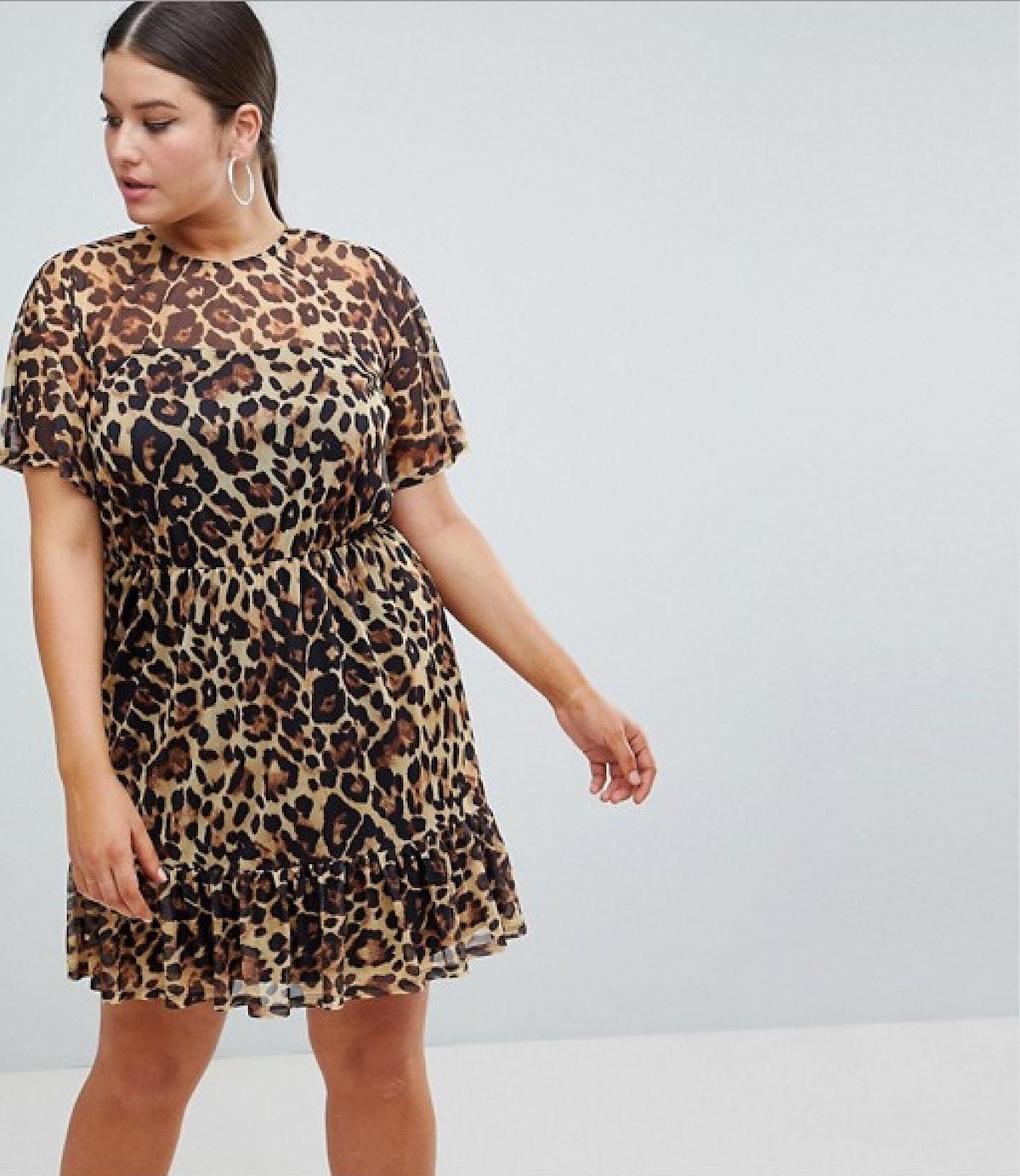 ASOS DESIGN Curve mini mesh tea dress in leopard print