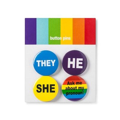 Rainbow Preferred Pronoun Pins