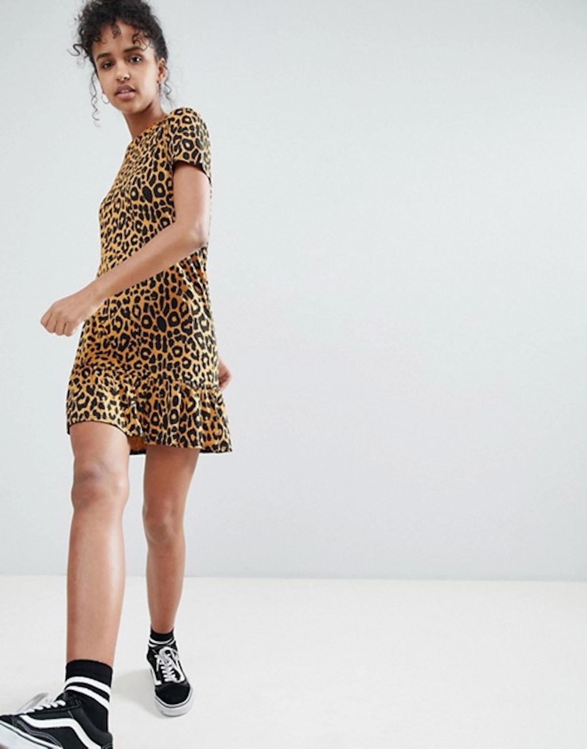 Daisy Street Tshirt Dress With Ruffle Hem In Leopard