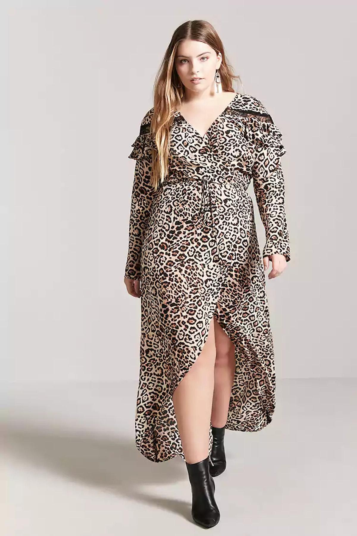 Plus Size Leopard Print Surplice Wrap Maxi Dress