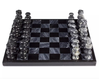 Hand Carved Marble Chess Set, 'Grace and Strategy'