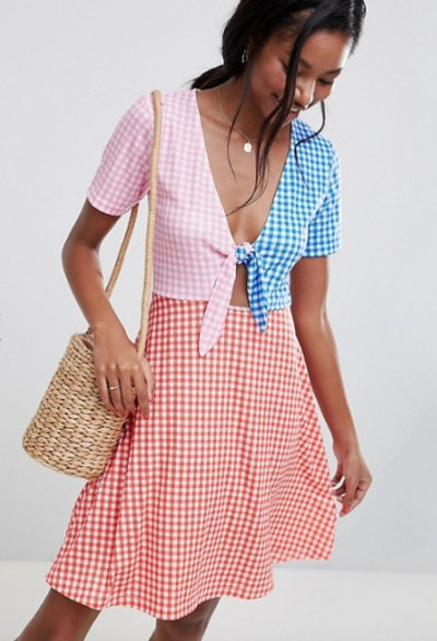 ASOS DESIGN mini skater sundress with tie front in color block Gingham