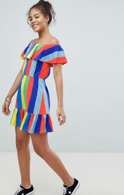 ASOS DESIGN Tall off shoulder sundress with tiered skirt in rainbow stripe
