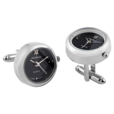 Peugeot Men's 14K Gold Plated Cuff Link Real Working Face Watch