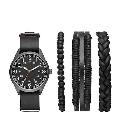 Men's 's Easy Read Field Strap Watch Set