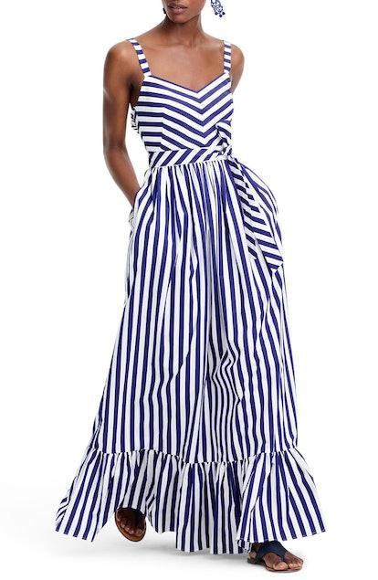 Stripe Ruffle Maxi Dress J.CREW