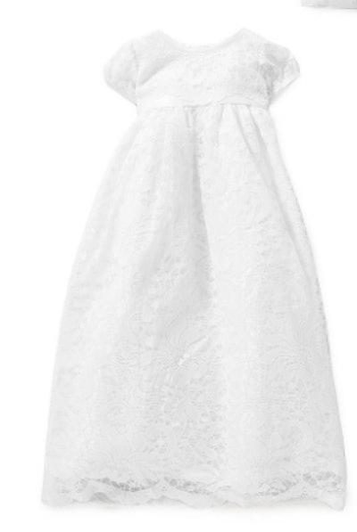 Cap-Sleeve Lace-Overlay Christening Dress & Bonnet Set