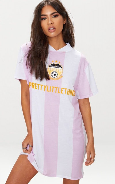 Baby Pink Football Style T-Shirt Dress