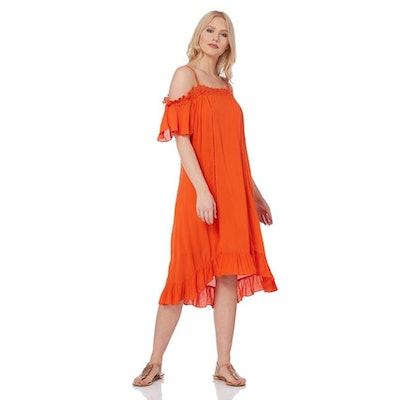 Roman Originals Orange Cold Shoulder Swing Dress