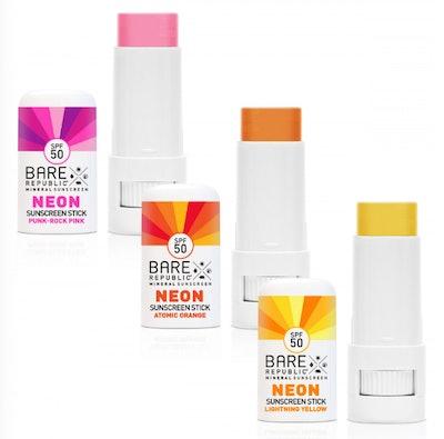 Bare Republic SPF50 Neon Sunscreen Stick 3-Pack, Sunset Edition