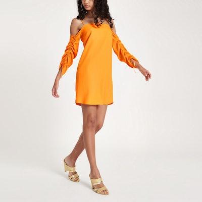 Orange Cold Shoulder Swing Dress
