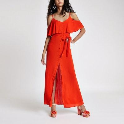 Red Cold Shoulder Tie Waist Maxi Dress