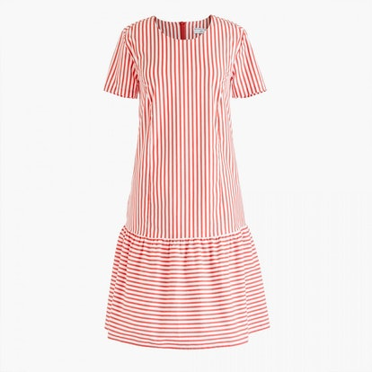 Universal Standard for J.Crew poplin drop-waist dress in stripe