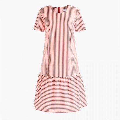 Universal Standard for J.Crew poplin drop-waist dress in stripe