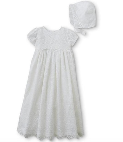 Sage Infant Girls' Christening Gown & Bonnet In Lace