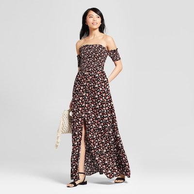 Women's Off the Shoulder Smocked Top Maxi Dress
