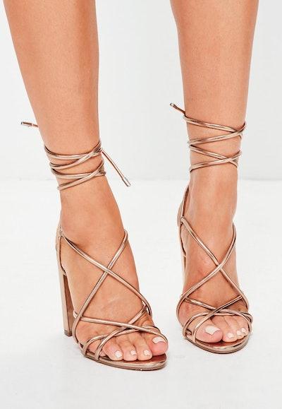 Rose Curved Gold Multi Strap Block Heeled Sandals