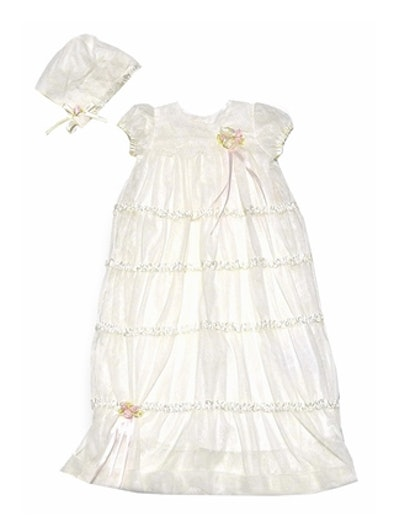 Biscotti Baby Ivory Christening Gown With Bonnet