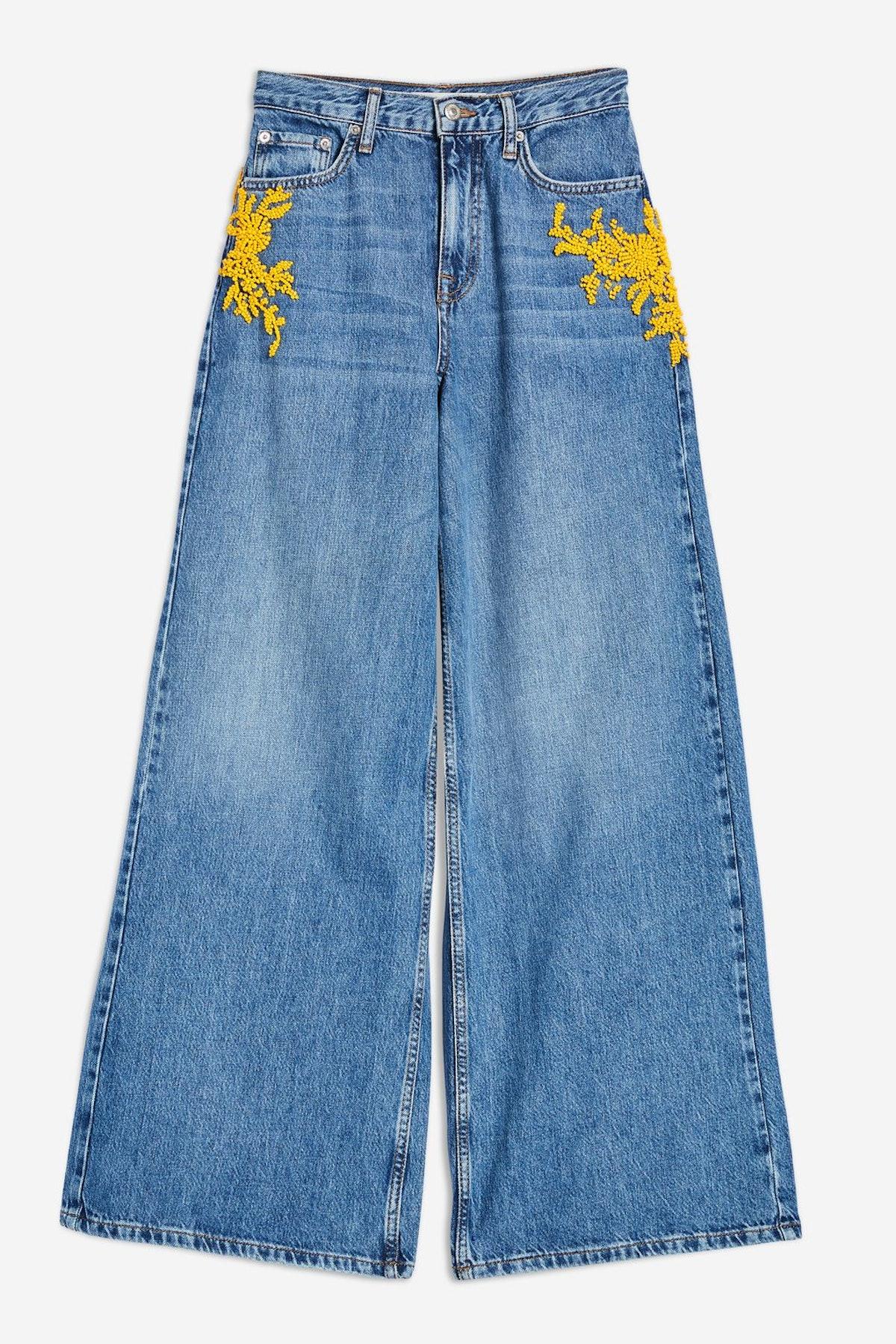 MOTO Yellow Bead Wide Leg Jeans