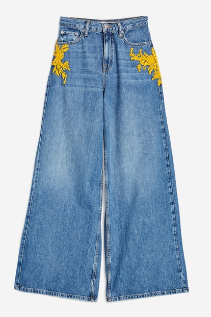 MOTO Yellow Bead Wide Leg Jeans