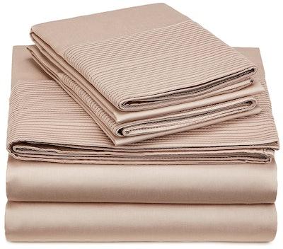 Pinzon 400-Thread-Count Egyptian Cotton Sateen Pleated Hem Sheet Set