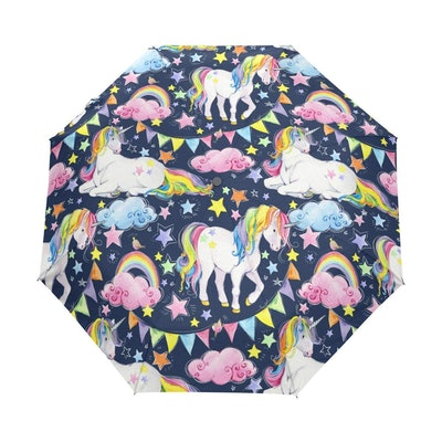 U LIFE Vintage Rainbow Unicorn Birthday Auto Open Close Umbrellas