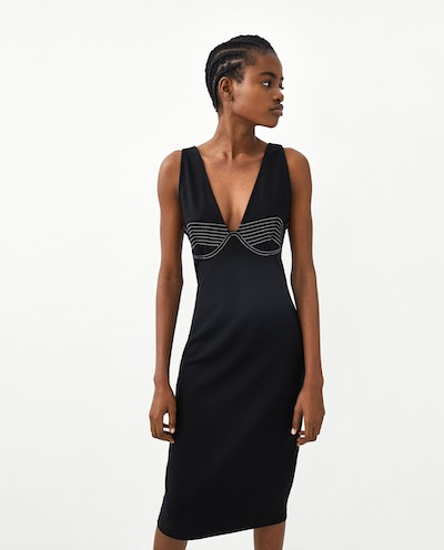 DRESS WITH CONTRASTING TOPSTITCHING
