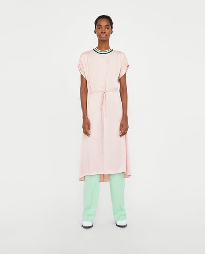 DRESS WITH CONTRASTING RIBBED DETAIL