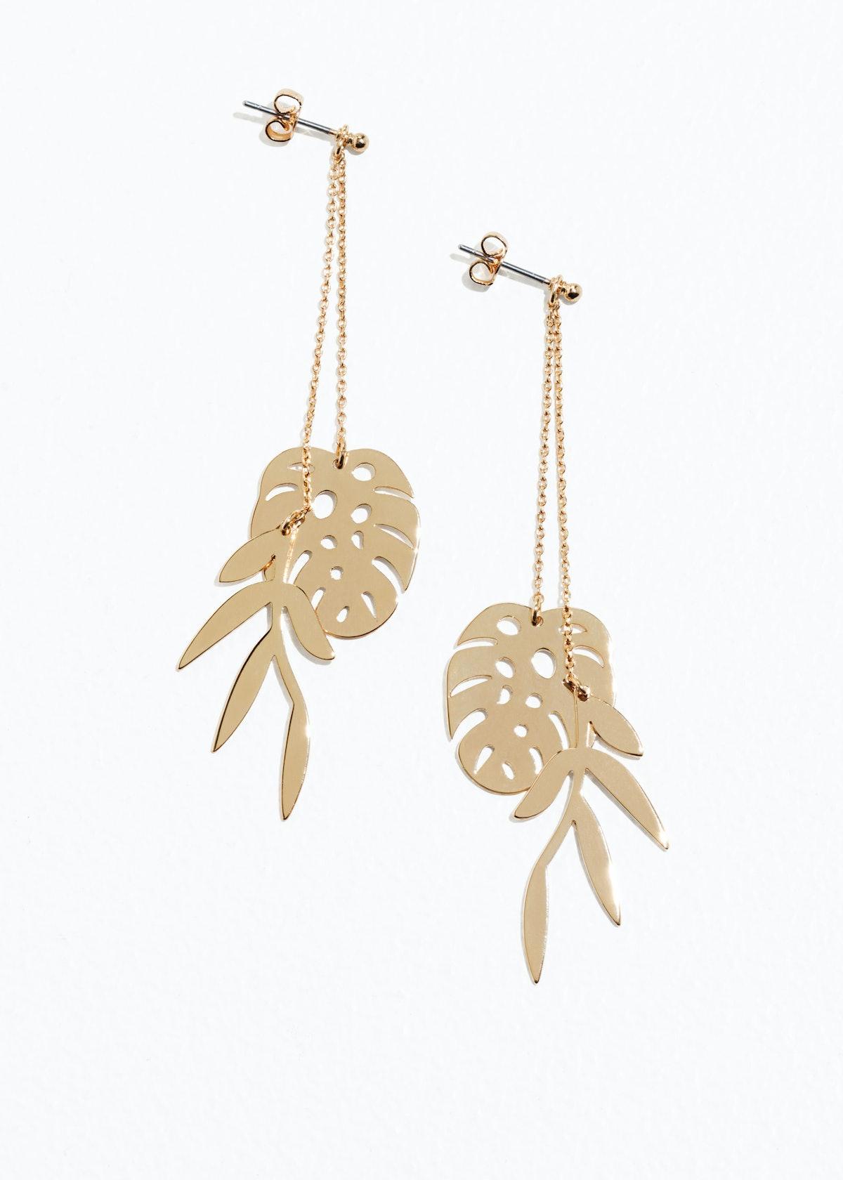 Leaf Charm Hanging Earrings