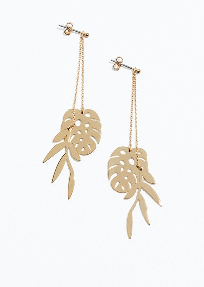 Leaf Charm Hanging Earrings