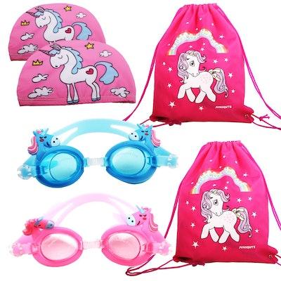 2PCS Kids Unicorn Swim Goggles with 2PCS Unicorn Breathe Swim Cap-Sun Protection Hat and 2PCS unicorn bags